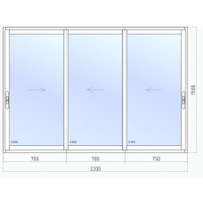 Раздвижное остекление лоджии VEKA 2200*1500