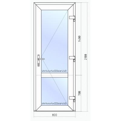 Входная пластиковая дверь VEKA Softline 70  2100*800